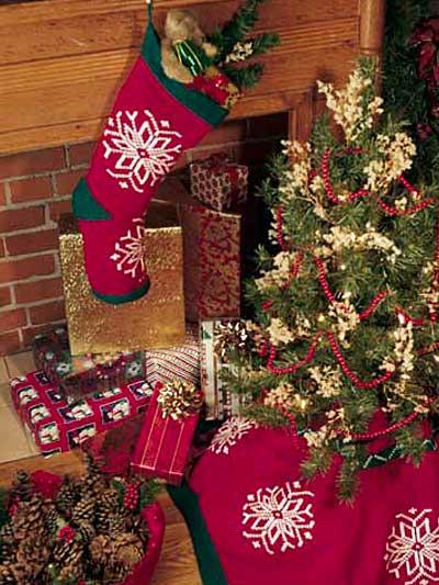 Snowflake Tree Skirt & Stocking photo