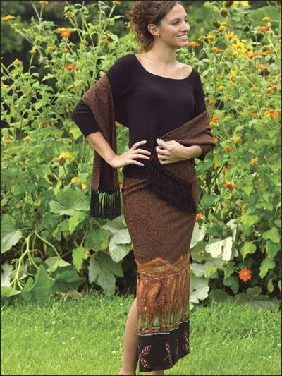 Side-Slit Skirt & Scarf photo