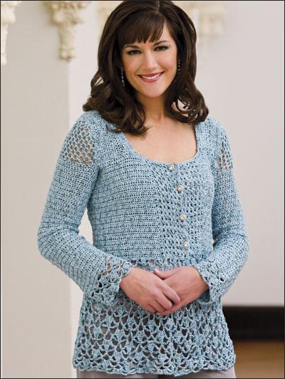Free Crochet Patterns Using Fine Yarn : Crochet - Jackets - Blue Blitz Jacket
