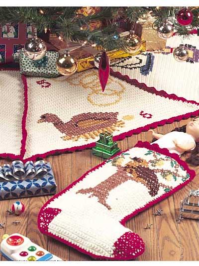 Twelve Days of Christmas Tree Skirt and Stocking photo